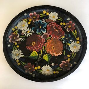 Vintage Folk Art Mexican Batea Tray